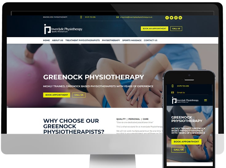 Website designed for Physiotherapist just outside of Glasgow