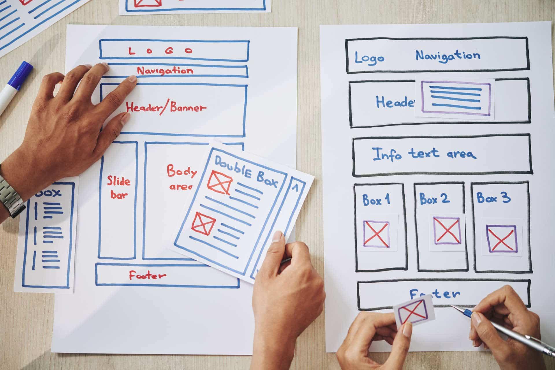 Website being designed on paper for Edinburgh business